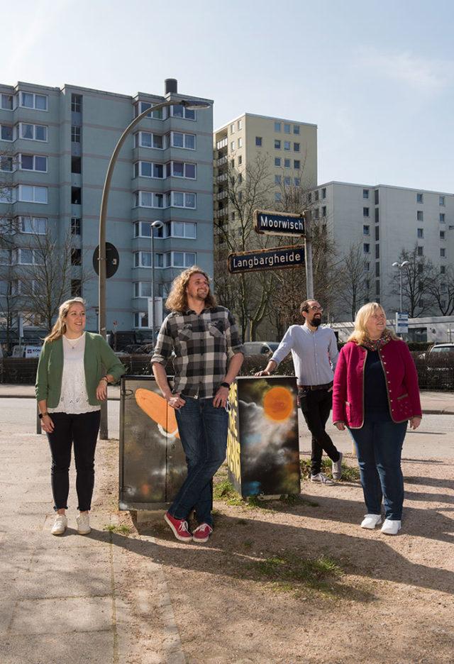 Starkes Team für ein inklusives Quartier: Julia Kock, Jonathan Carstensen, Norbert Ganter, Ulrike Kloiber (von links nach rechts)